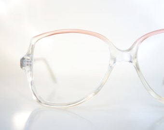 1970s Pink Eyeglasses Womens Clear Glasses Vintage Nerdy Geek Chic 70s Seventies Oversized Boxy Deadstock NOS New Od Stock Cranberry