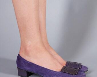 60s Purple Suede Mary Janes Kitten Heel Mod Shoes 7 1/2 N