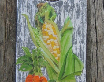 VEGETABLE MEDLEY Door Knob Hanger - Original Hand Painted Wood