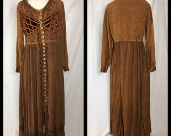 Boho Brown Dress with Renaissance Flair by M.P.H - Size Large