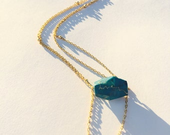 Turquoise Gold Layered Necklace