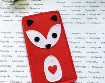 Custom Size Felt iPhone Case, Cell Phone Sleeve, Felt Phone case, Handmade cell phone purse, red fox case, iPhone 7 case