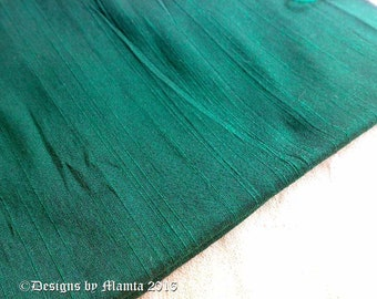Holly Green Silk Dupioni Fabric By Yard, Indian Art Silk Fabric, Bridesmaid Fabric, Curtains Material, Formal Blouse Jacket Material