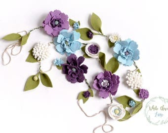 Felt Flower Garland - banner - Wedding Nursery Bedroom Decor  - Pale Blue and Lavender Purple photo prop