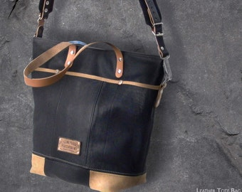 Black Leather Tote Bag, Shoulder Tote, Crossbody Bag, Outside Pockets, Recycled Leather Jacket / Upcycled in GERMANY-2199
