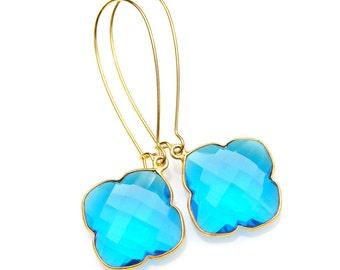 Blue Apetite Bezel Earrings Long Faceted Sparkle Quartz Dangles Clover Gemstone High Fashion Posh Couture Style by Mei Faith