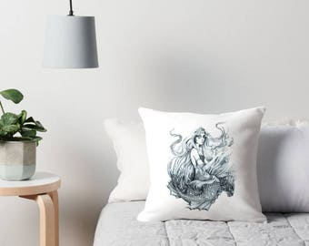 Mermaid Drawing Cushion Cover, Water Nymph Pencil Drawing Faerie Throw Pillow Black and White Fantasy Bedroom Decor