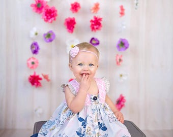Girls Spring dress, blue floral dress, pink and blue dress, ruffle sleeve dress, denim dress, from Melon Monkeys