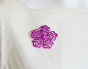 1960s/1970s Fuchsia Metal Flower Pin