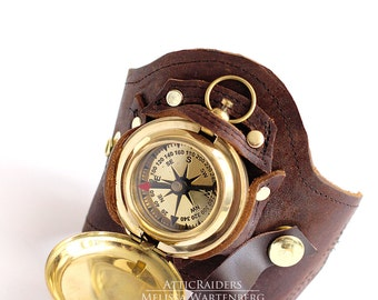 Brown Leather Steampunk Compass holster Cuff