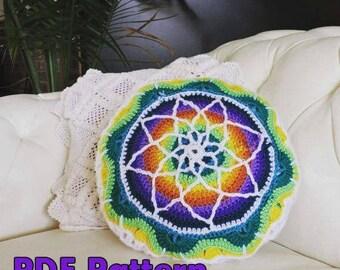 Vibrant Crochet Mandala Pillow Case