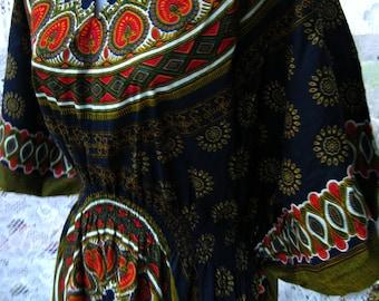 GIFT IT it XL Never Worn Dress, like New with Tag NWt, Cotton Caftan dashiki lounge dress, blue red kaftan dress