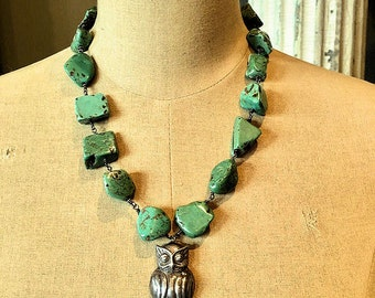 Sterling Silver Owl and Turquoise Necklace