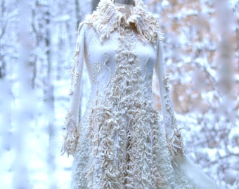 Custom Wedding sweater COAT for MC. Winter Wonderland fantasy clothing, boho one of a kind eco couture outerwear