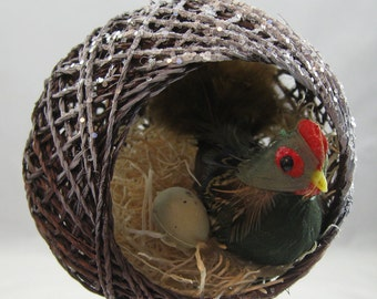 Hen in a Nest with an Egg Christmas Ornament 103