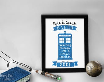 Personalized Doctor Who Print // 8x10 TARDIS Art With Personalized Names U0026  Wedding Year /