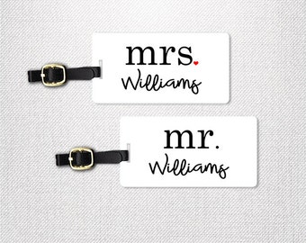 Mr and Mrs Last Name Luggage Tag Metal Tags Set Custom Printed Fronts and Backs Custom Wedding Gift Honeymoon Travel
