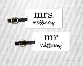 Mr and Mrs Last Custom Name Luggage Tag Metal Tags Set Custom Honeymoon Wedding Gifts