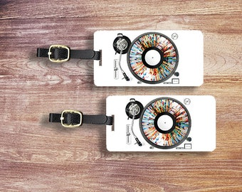 Personalized Luggage Tags DJ Music Turntable Personalized Address Custom Luggage Tags - Single Tag or Set Available
