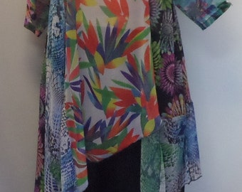 Coco and Juan, Plus Size Tunic, Women's Top, Asymmetric Tunic, Mixed Print Chiffon #2 Size XL (fits size 14/16) Bust 45 inches
