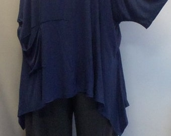 Coco and Juan,  Lagenlook,  Womens Plus Size Top, Cold Shoulder Rayon Knit Angled, Plus Size Tunic, Top Denim Blue One Size Bust 58 inches