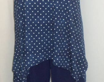 Plus Size Tank Top, Coco and Juan Lagenlook, Navy Blue, Denim Knit, Star Print, Angled, Women Tank Top Size 1 Fits 1X,2X Bust  to 50 inches