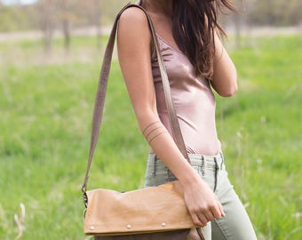 Leather Foldover Crossbody Bag - Leather Crossbody - Leather Handbags - Leather Purse - Leather Bags  - Hobo Bag - Womens Purse - Slouch Bag