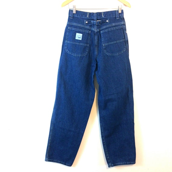 Vintage 90s LEE Mom Jeans Super High Waisted Buckles Denim Trousers 1990s Blue Cargo Pants Wide Leg Tapered Riveted Made in USA 8 Waist 28""