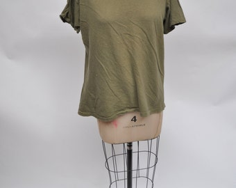 vintage tshirt ARMY shirt distressed 1980s oversized boyfriend t-shirt green