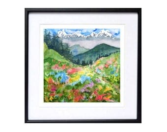 Rocky Mountains Art,  Mountain art hiking Spring landscape watercolor painting Rocky Mountain paintings Spring flowers watercolor painting