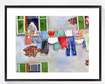 Laundry Room Art Print Watercolour art Laundry artwork Italian laundry clothes line art print Watercolor painting Travel art print A