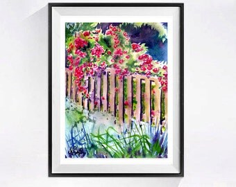 Landscape Flower Garden Art  Print, watercolor painting Wild roses Tranquil rural scenery Flower garden red painting brown artwork wall art