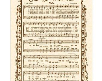 GOD BE WITH You Till We Meet Again - Hymn Wall Art Custom Christian Home Decor Vintage Verses Sheet Music Inspirational Wall Art Sepia Brown