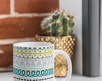 Ceramic Coffee Mug // Coffee Cup // Tea Cup // Kitchen Drinkware // Home Decor // Boho Market Stripe Design // Geometric // Turquoise