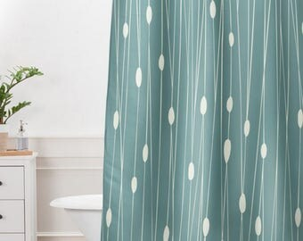 Simple Geometric Shower Curtain // Bathroom // Entangled Design // Modern Geometric // Shower // Bathroom Decor // Oval Dot Pattern // Sage
