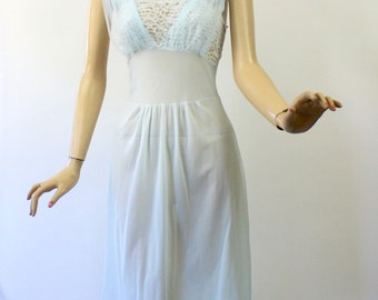 Vintage 50s NightGown by Florelee Sheer Blue Nylon w Lace & Chiffon Bust Size 38