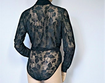 Sheer Bodysuit Vintage Cosabella Black Lace Romper Italian Long Sleeve Blouse Size Mis Large