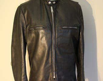 Leather Motorcycle Jacket: Brooks Black 70s Biker Chick Cafe Racer Coat S 6 8 38