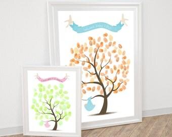 baby shower fingerprint guest book tree - printable - thumbprint tree, christening new baby boy or girl nursery art, custom keepsake artwork