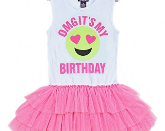 Sale, Birthday Dress, Girls Emoji Birthday, Birthday Girl, Tween Clothing, Emoji Face, Happy Face, Emoji Birthday Party