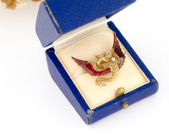 Antique 14k Gold Griffin Dragon Brooch | Antique Gold Enamel 14k Brooch | Antique Enamel Jewelry