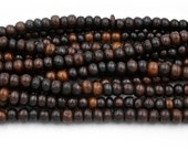 Brown Bone Beads,  7mm,  1mm Hole,    Bone Beads, 16 Inch Strand -BN11