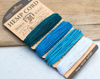 Hemp Twine, Aquamarine,  20lb, 1mm,  Craft Cord,  Hemp Jewelry Cord -CH61