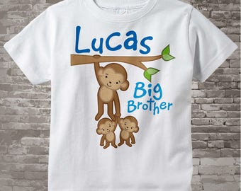 Big Brother Shirt - Big Brother Outfit top - Boy's Big Brother Monkey with twin baby monkeys t-shirt or Onesie, Personalized 03012012a