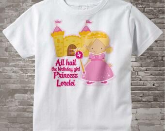 4th Birthday Shirt, Blonde Haired Princess Fourth Birthday Shirt, Personalized Cute Princess Birthday Girl Tee Shirt (10052016c)