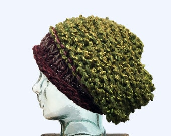 Green and burgundy Slouchy Hat, Green and wine Wool Hat, Green Mix Slouchy beanie, Warm Winter Hat,  Bohemian Knit Hat, Mixed Color Hat