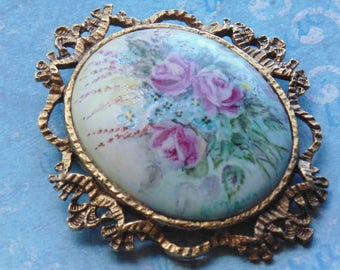 Hand Painted Roses Artist Signed Vintage Brooch Pendant