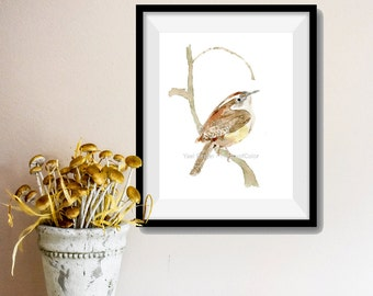 Carolina Wren print, Bird art, Wren, bird lover, south Carolina state bird, Wren watercolor, Nature art, wild life art