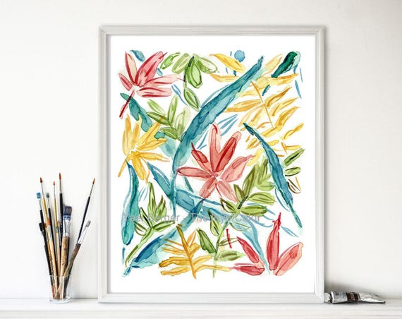 Colorful Abstract leaves print, colorful art  print, watercolor print, modern art, mothers day, Yellow teal orange green, fresh home decor