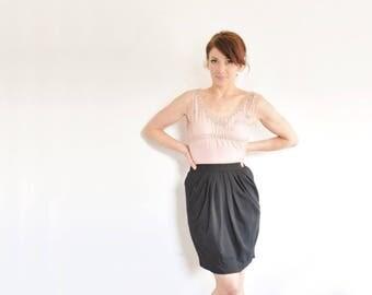 draped pleated tulip skirt . classic black Stanley Korshak designer skirt .extra small.xs .sale